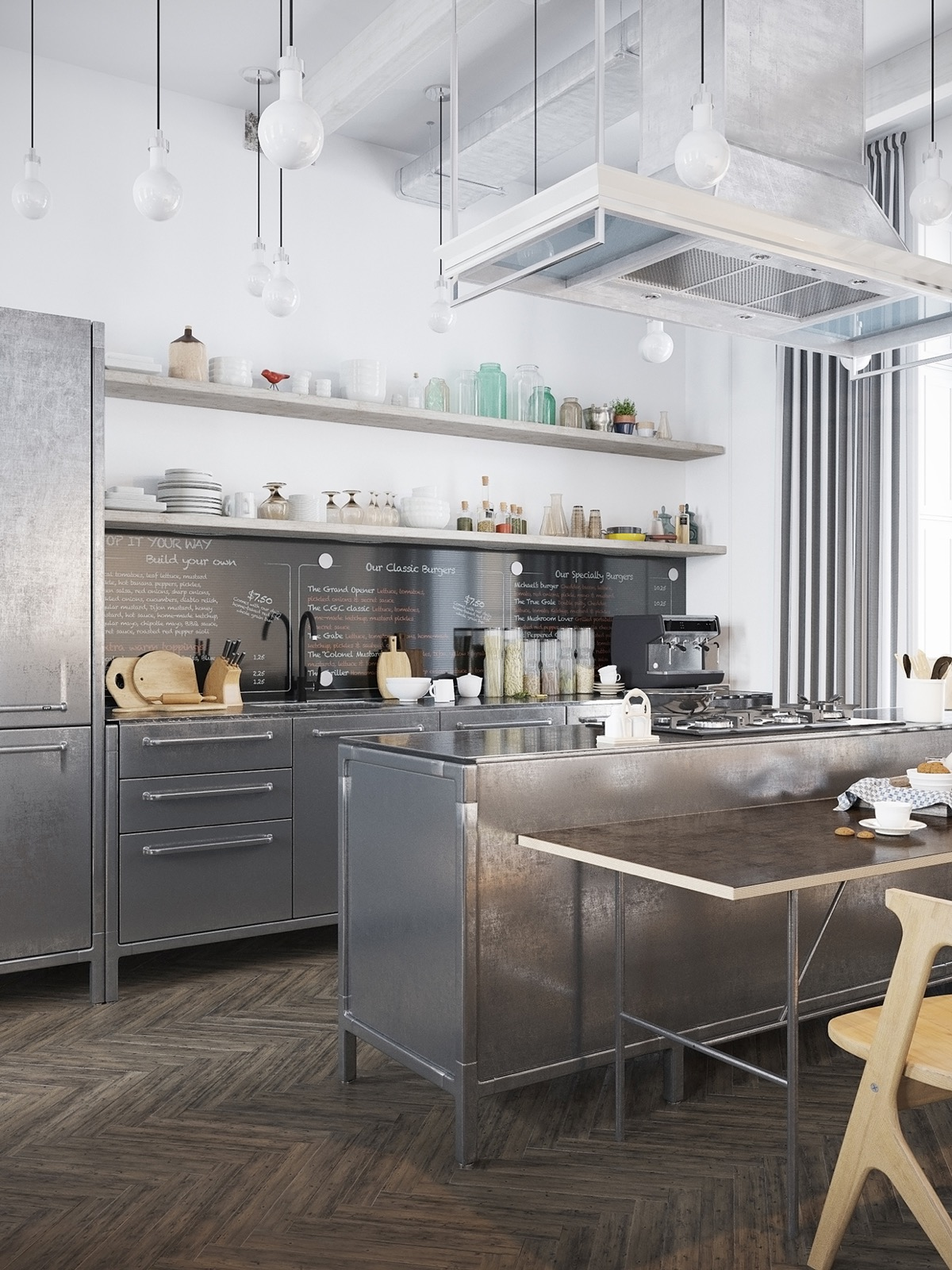 industrial-kitchen-chrome-cabinets-wooden-open-shelving