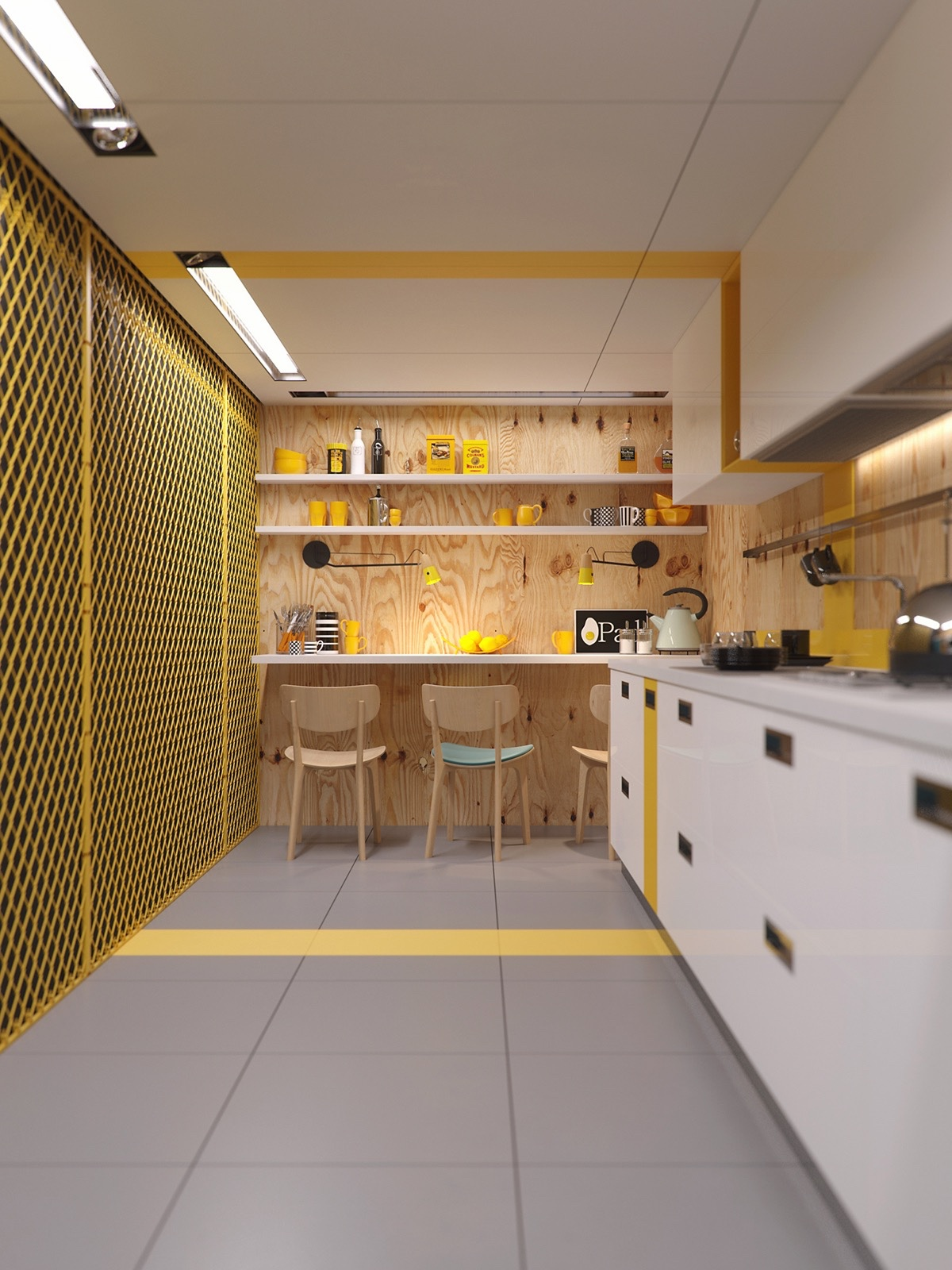 industrial-kitchen-in-yellow-white-and-wood-open-shelving