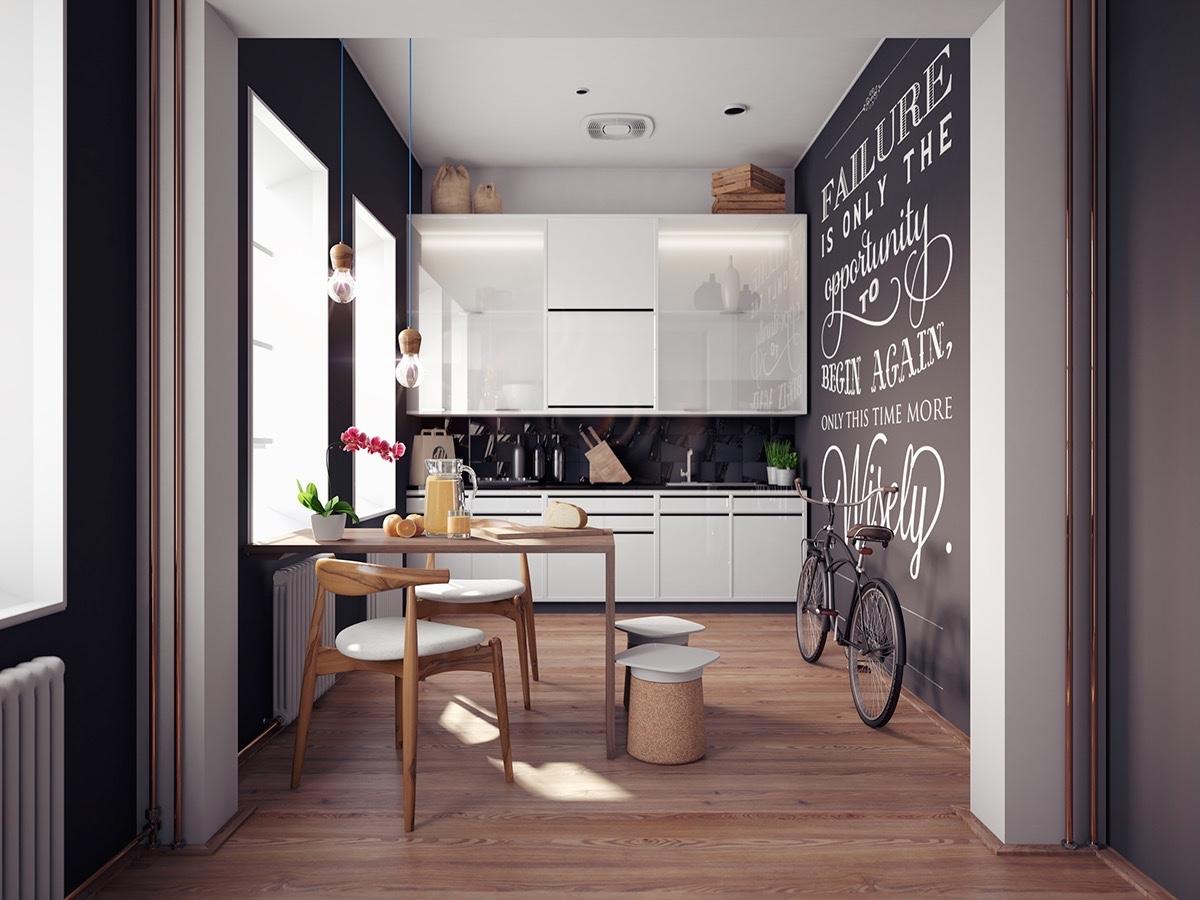 inspirational-quote-on-blackboard-wall-Scandinavian-kitchen