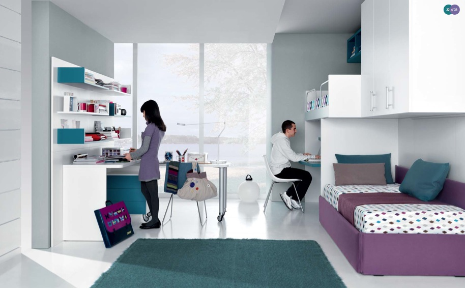 jade-mauve-white-Contemporary-Teenagers-Room-shared ...