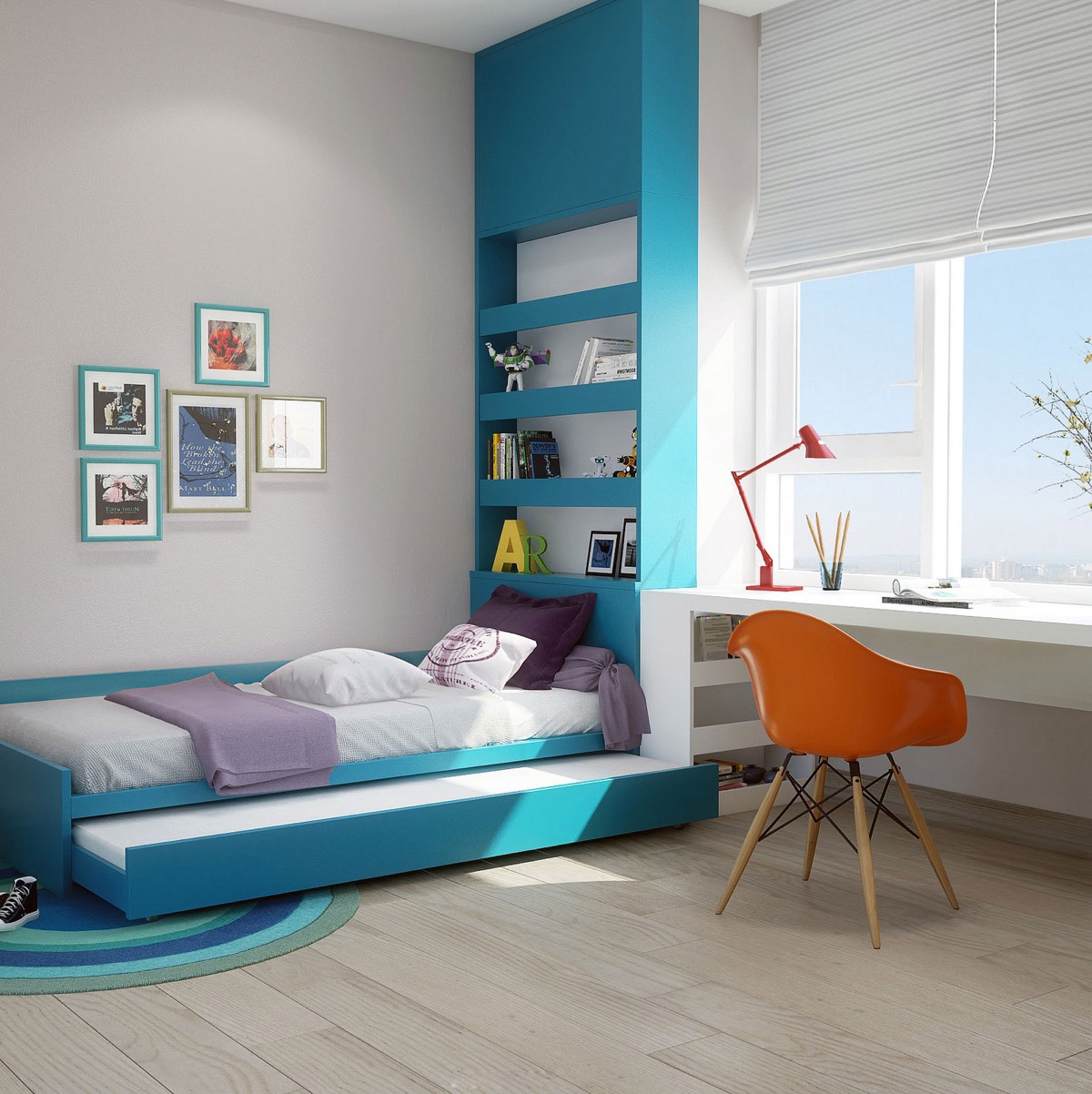 kids-bedroom-space-saving-blue-and-orange-bedroom