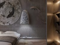 luxury-asian-inspired-master-bedroom-with-koi-fish-decorating-ideas-grey