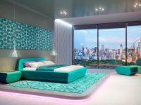 luxury-bedroom-furniture-set-turquoise-large-window-polka-dot-wall-art