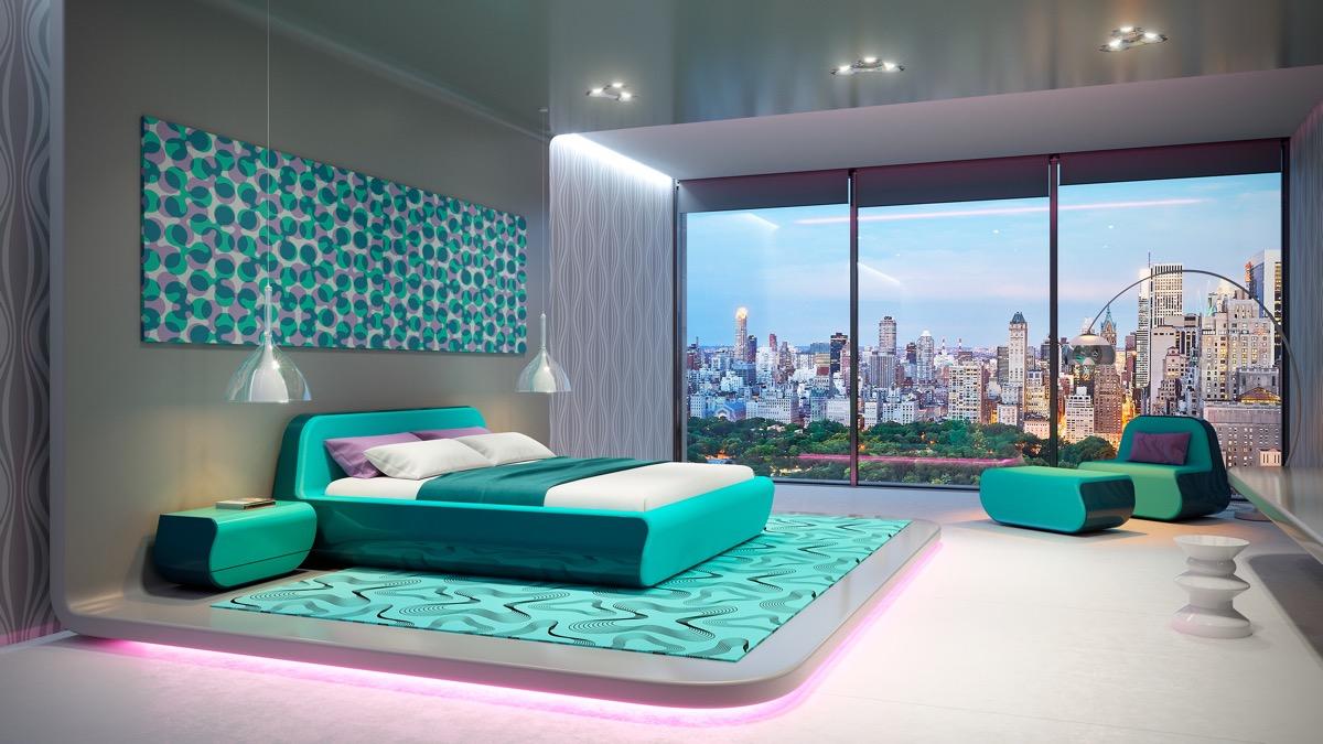 luxury-bedroom-furniture-set-turquoise-large-window-polka-dot-wall-art