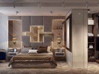 luxury-brown-master-bedroom-with-mirrored-headboard-and-walk-in-closet