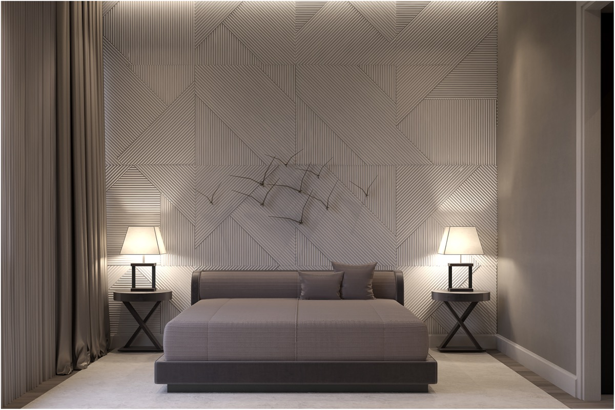 luxury-grey-master-bedroom-with-textured-accent-wall-and-flock-of-bird-metal-wall-art