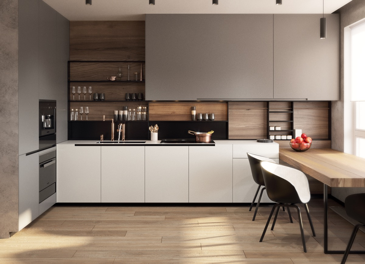 modern-kitchen-with-open-shelving-mushroom-panels-black-and-wood