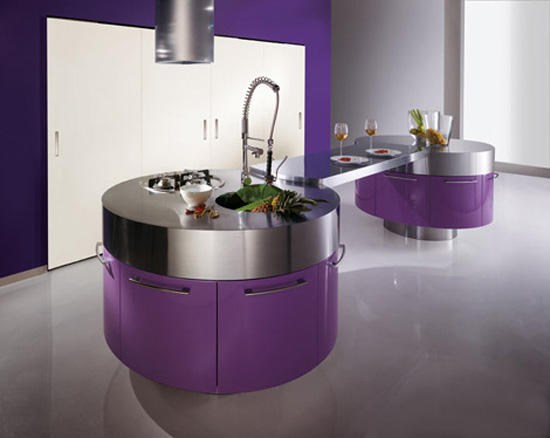modern-purple-kitchen-with-cylindrical-fan-above-stainless-steel-countertop