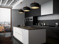 monochromatic-kitchen-black-and-inner-bronze-hanging-lights-black-glossy-floor