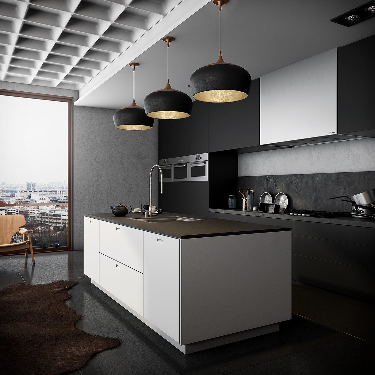 monochromatic-kitchen-black-and-inner-bronze-hanging-lights-black-glossy-floor