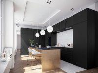 monochromatic-kitchen-black-cabinetry-three-white-Chinese-lanterns