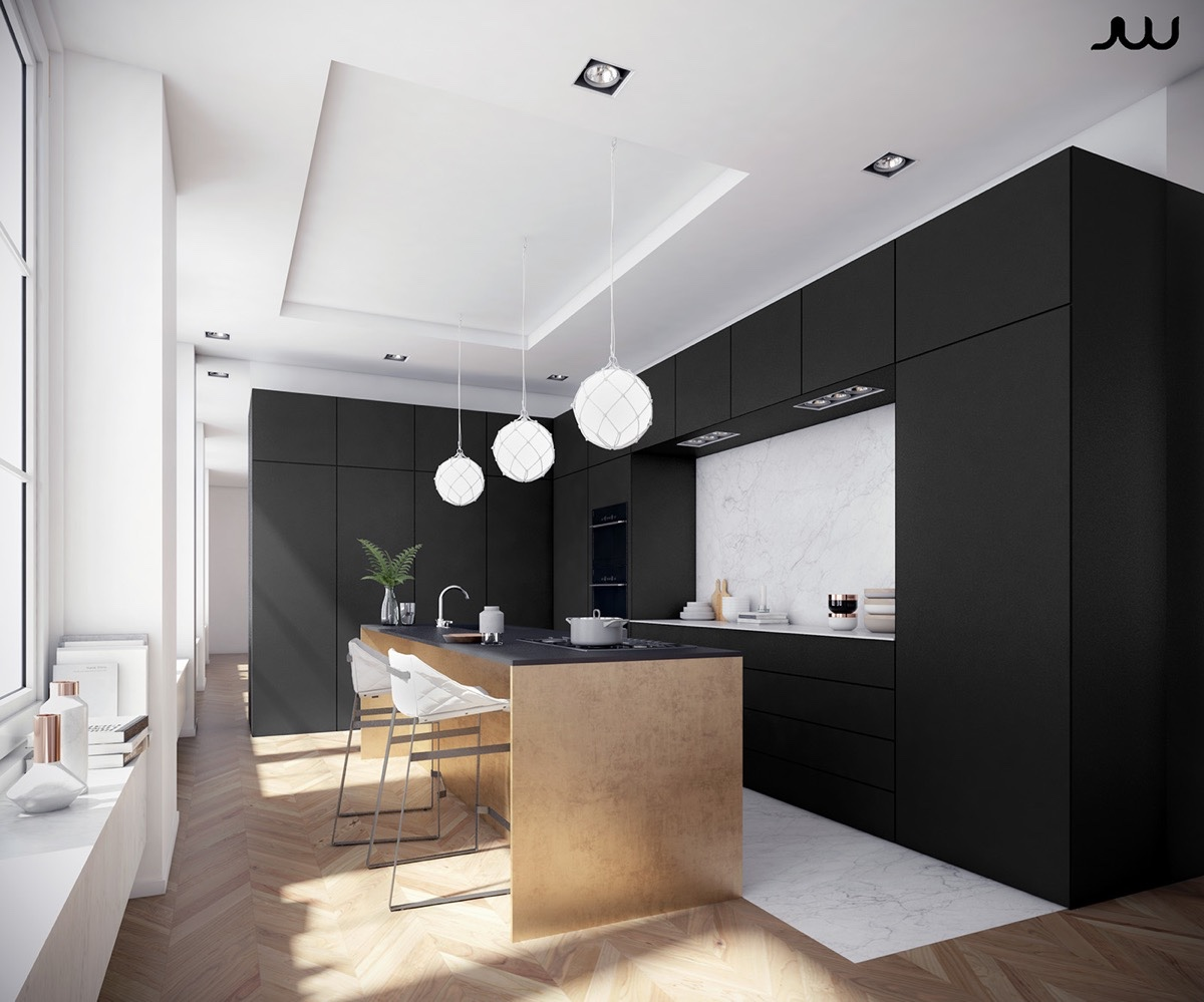 monochromatic-kitchen-black-cabinetry-three-white-Chinese-lanterns