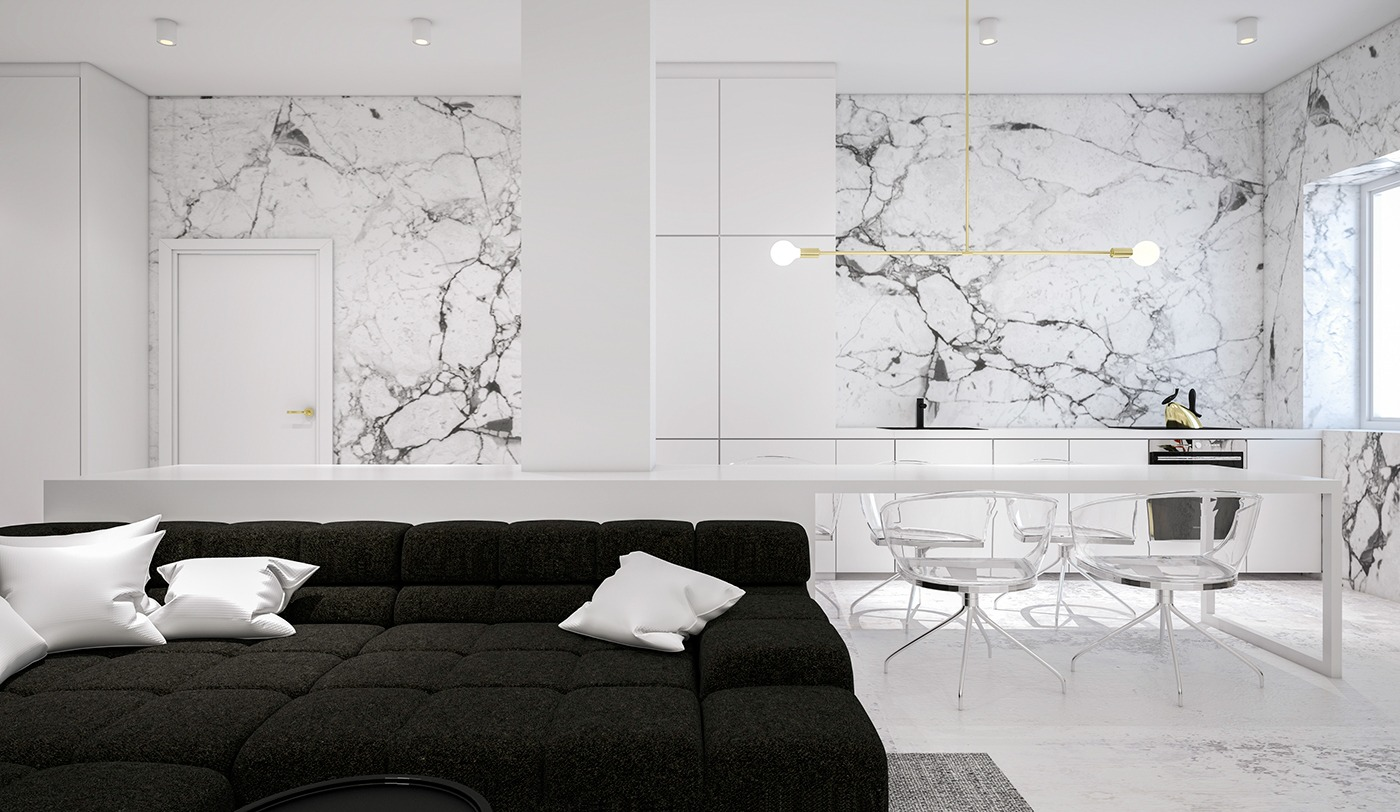 monochrome-kitchen-speckled-marble