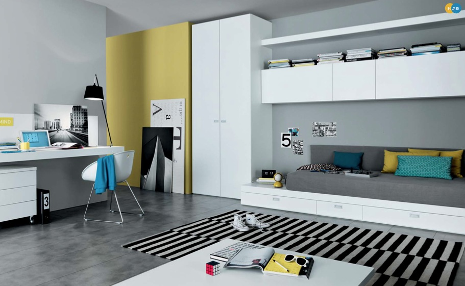mustard-black-white-Contemporary-Teenagers-Room