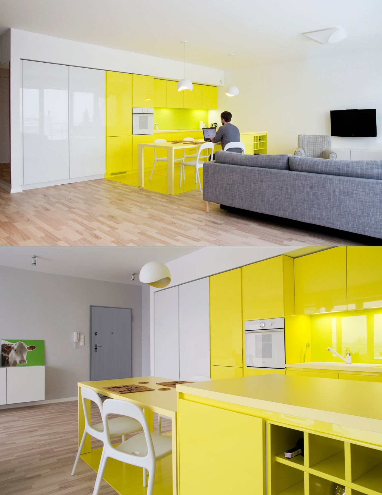 neon-yellow-kitchen-in-open-layout-home - Awesome Decors on golden yellow kitchen ideas, bright country kitchen ideas, yellow kitchen decorating ideas, yellow kitchen wall ideas, bright yellow room ideas, bright yellow interiors, bright yellow fashion, gray and yellow kitchen ideas, bright yellow bathroom ideas, bright yellow kitchen decorations, yellow kitchen color ideas, bright yellow living rooms, blue and yellow kitchen ideas, lemon yellow kitchen ideas, yellow country kitchen ideas, soft yellow kitchen ideas, bright yellow color, bright yellow dining room, bright yellow walls, bright yellow laundry rooms,