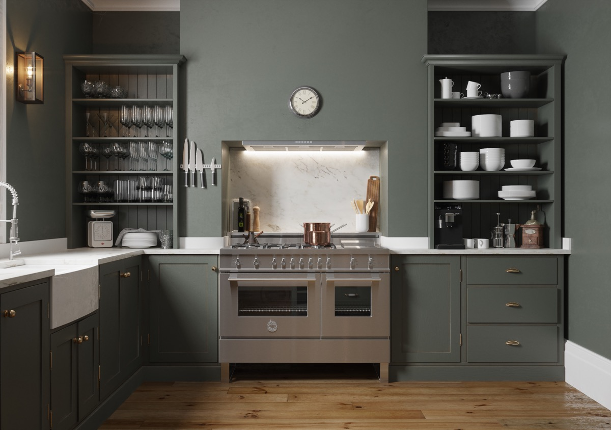 olive-painted-kitchen-with-open-shelving-traditional-look