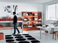 orange-black-white-Contemporary-Teenagers-Room