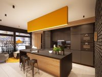 orange-feature-panel-kitchen-brown-cabinetry-coffee-coloured-bench