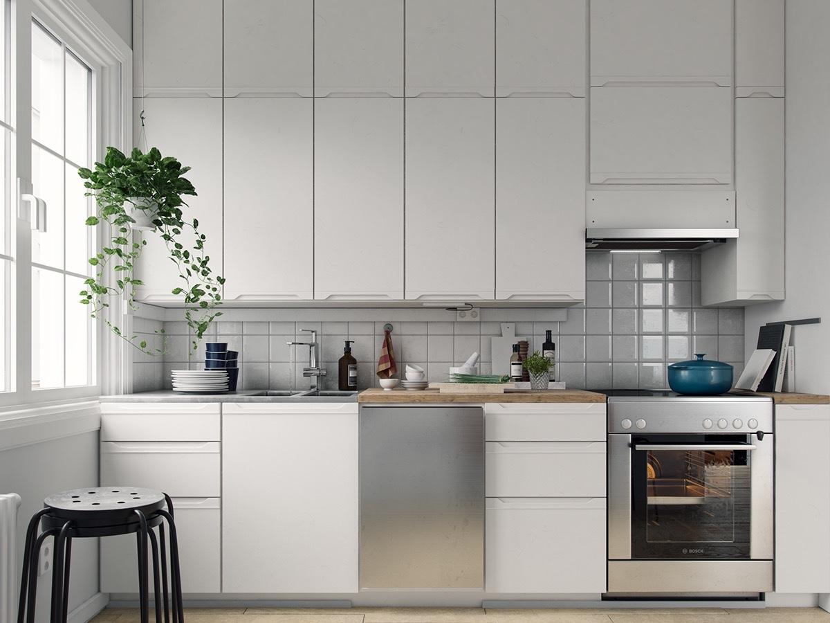 plain-white-cabinetry-chrome-features-Scandinavian-kitchen