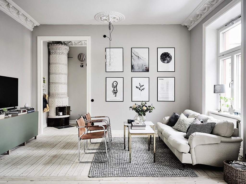prints-on-wall-textured-rug-gray-room-ideas