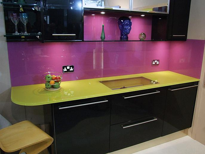purple-kitchen-glass-backsplash-yellow-countertops