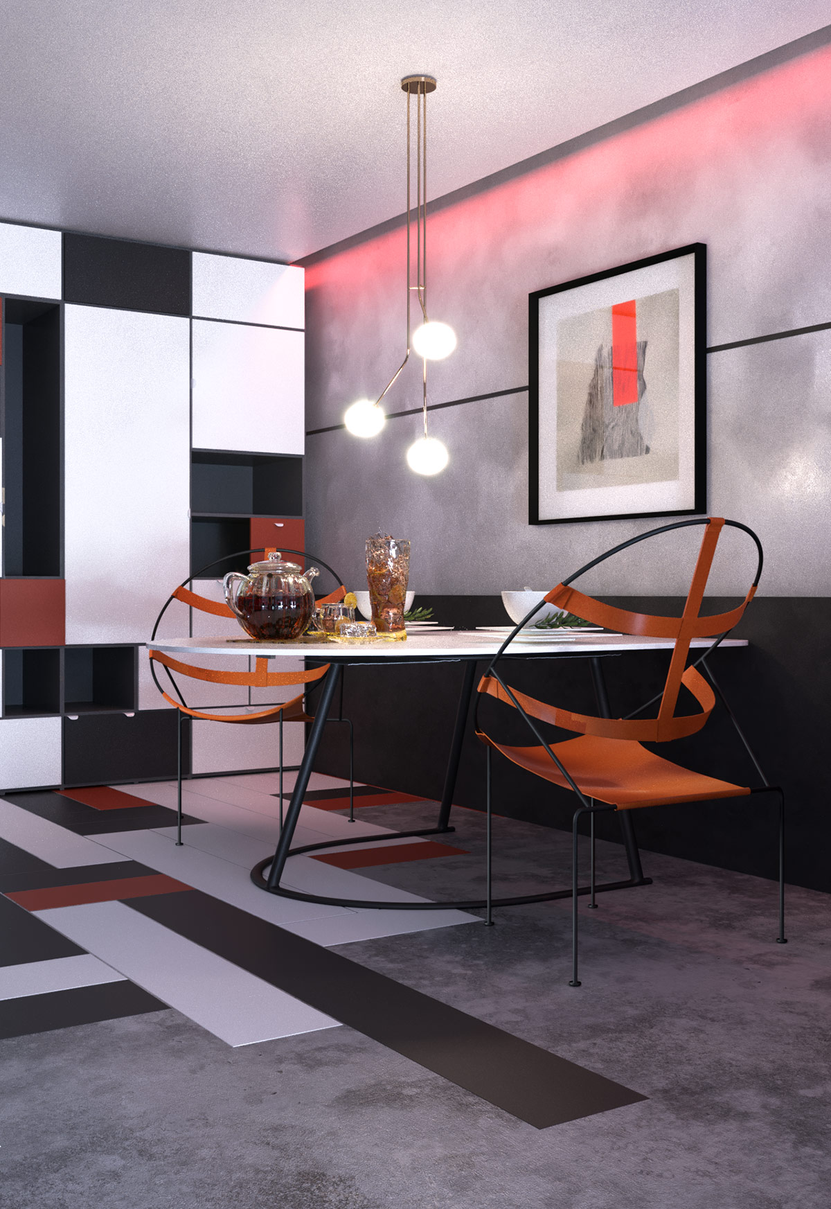 red-black-white-dining-room