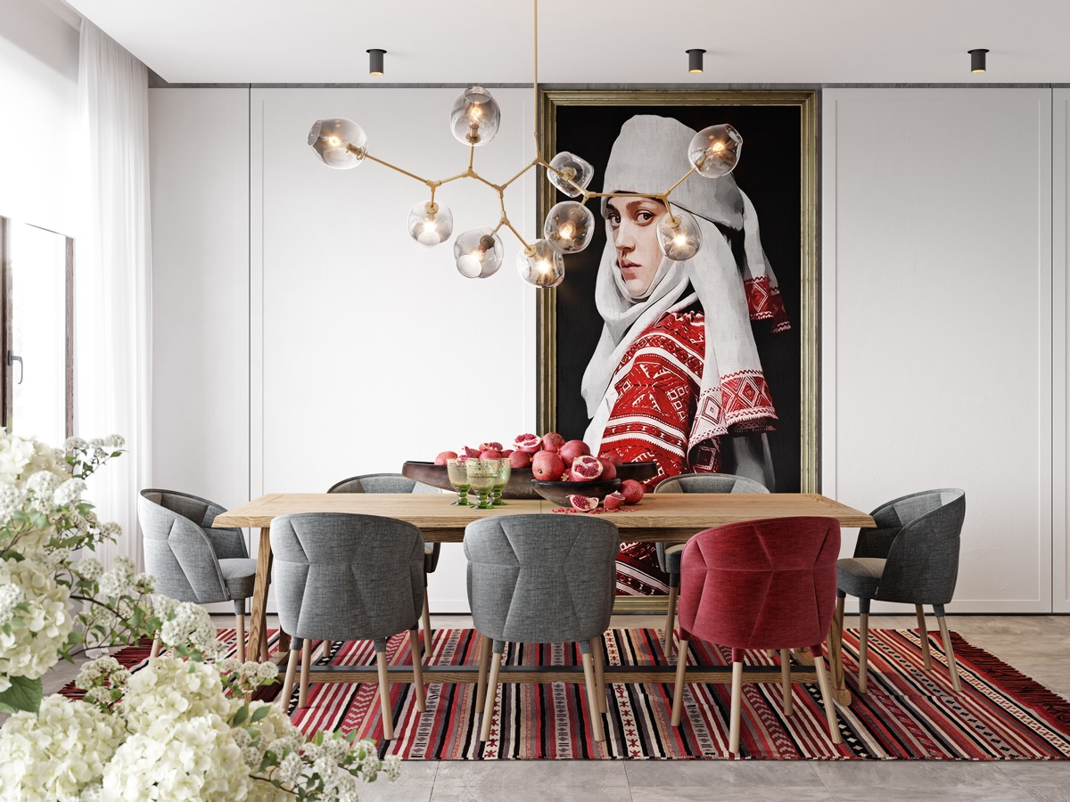 red-gray-and-white-dining-room