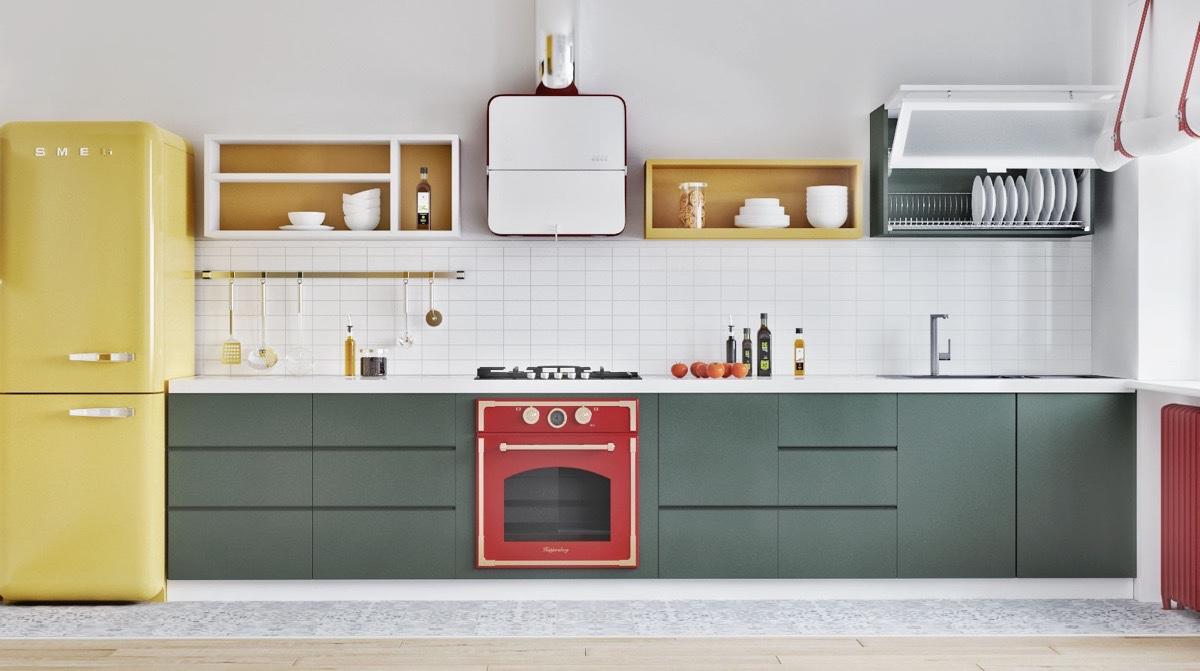 red-oven-mustard-fridge-Scandinavian-kitchen