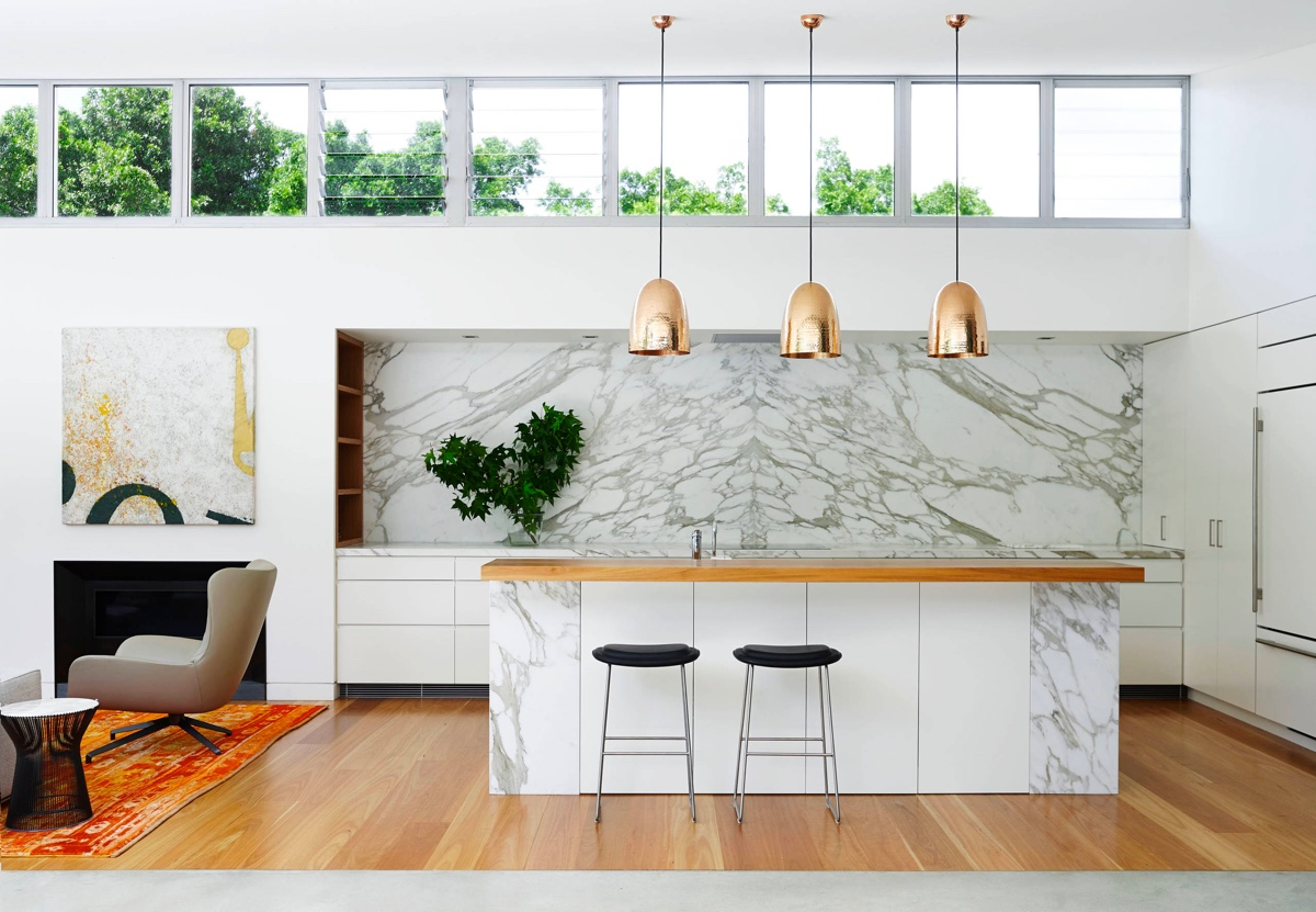 rose-gold-drop-lighting-wooden-benchtop-marble-kitchen