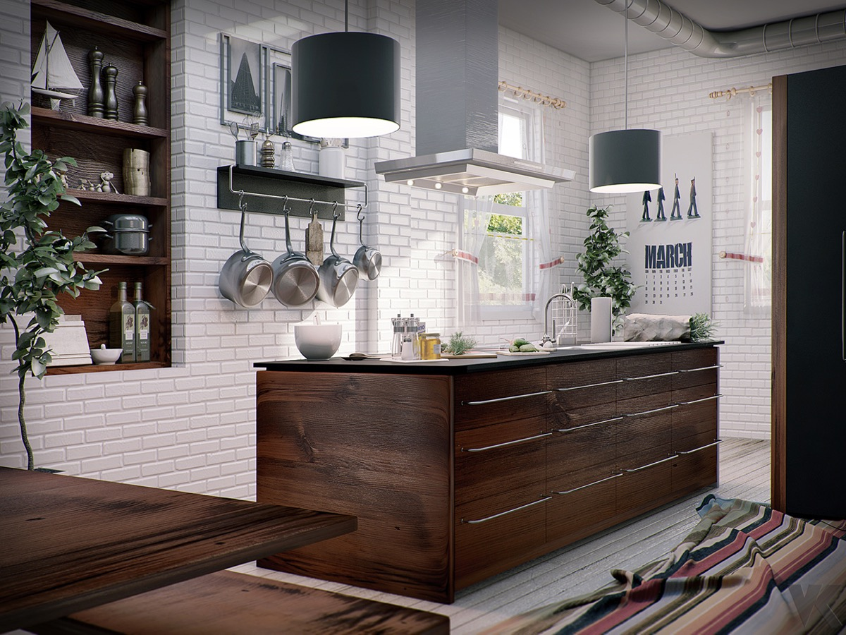 rustic-kitchen-white-exposed-brick-wooden-chests