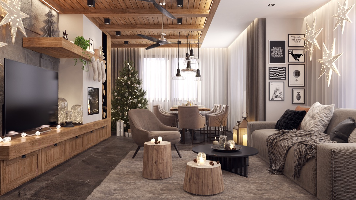 Rustic Living Room Christmas Decor Awesome Decors