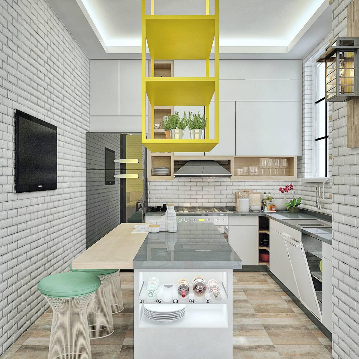 scandinavian-exposed-brick-kitchen-yellow-accents