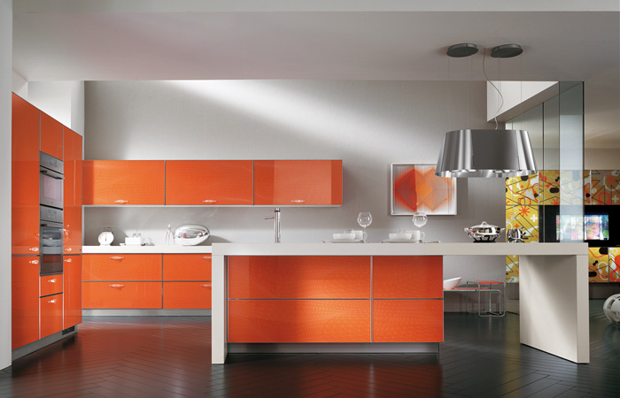 scavolini-Orange-Kitchen-herringbone-wood-tile