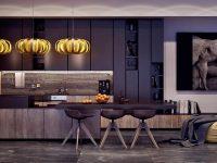 seductive-kitchen-hanging-pumpkin-lights-abstract-art-piece-wooden-cabinetry
