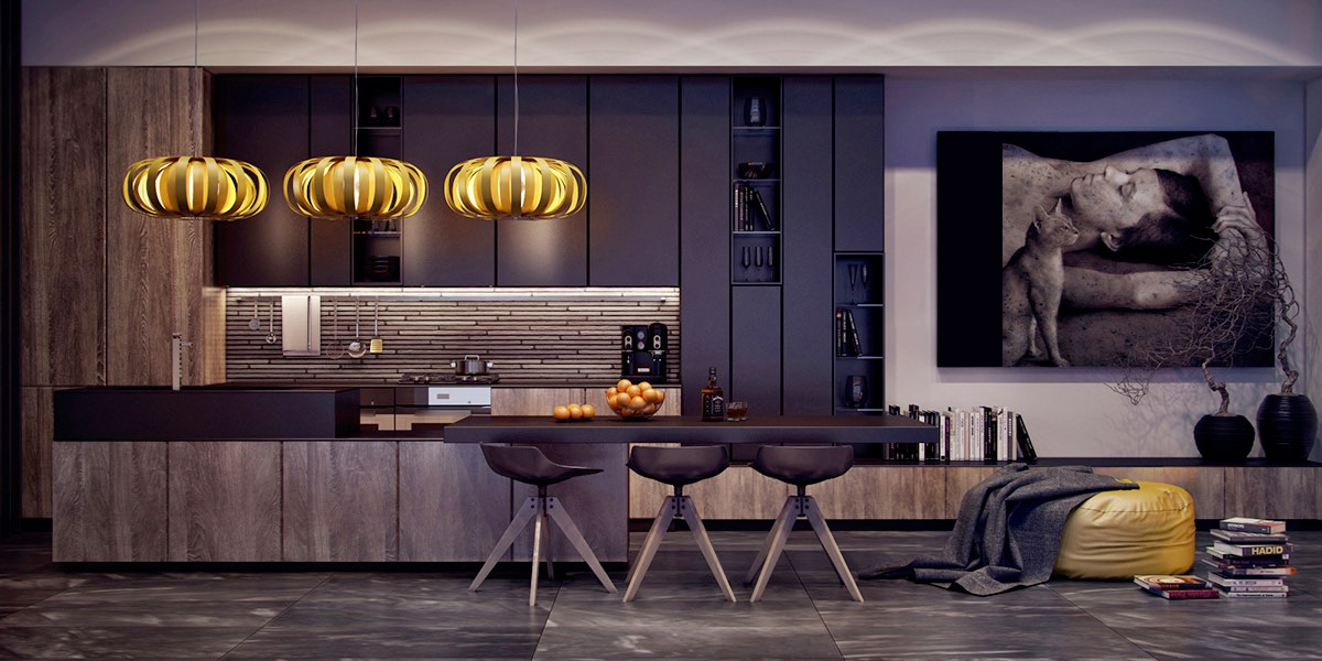 seductive-kitchen-hanging-pumpkin-lights-abstract-art-piece-wooden-cabinetry
