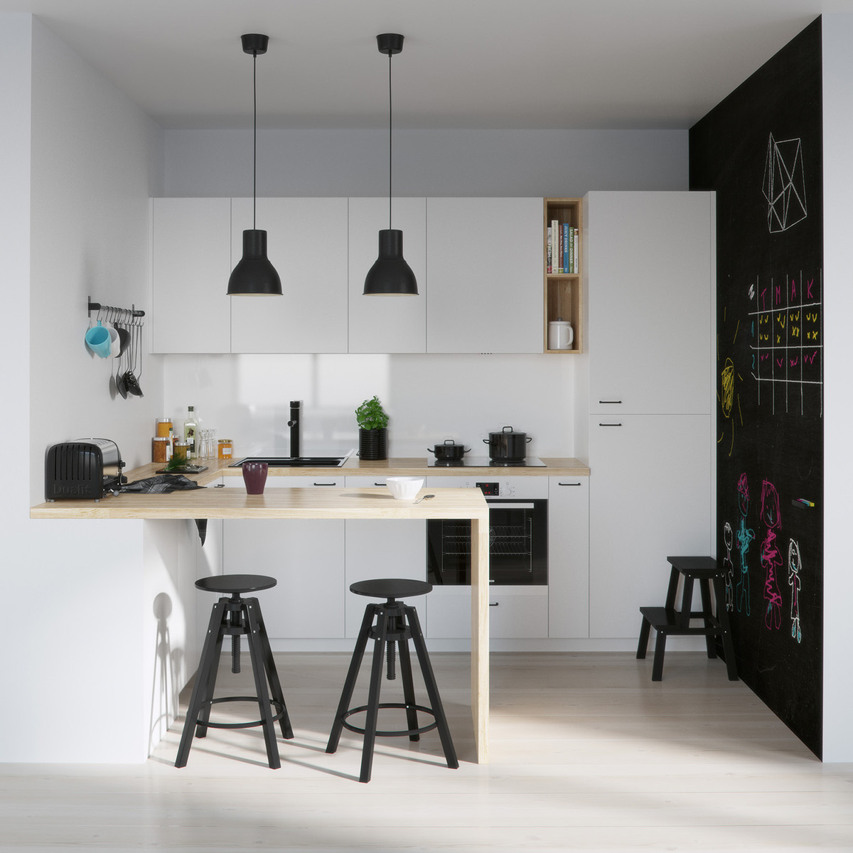 simple-Scandinavian-kitchen-black-dome-lighting