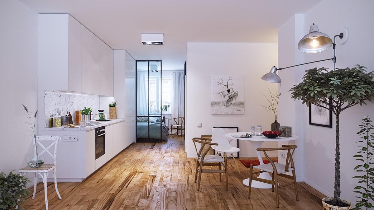 simplistic-kitchen-white-walls-potted-tree