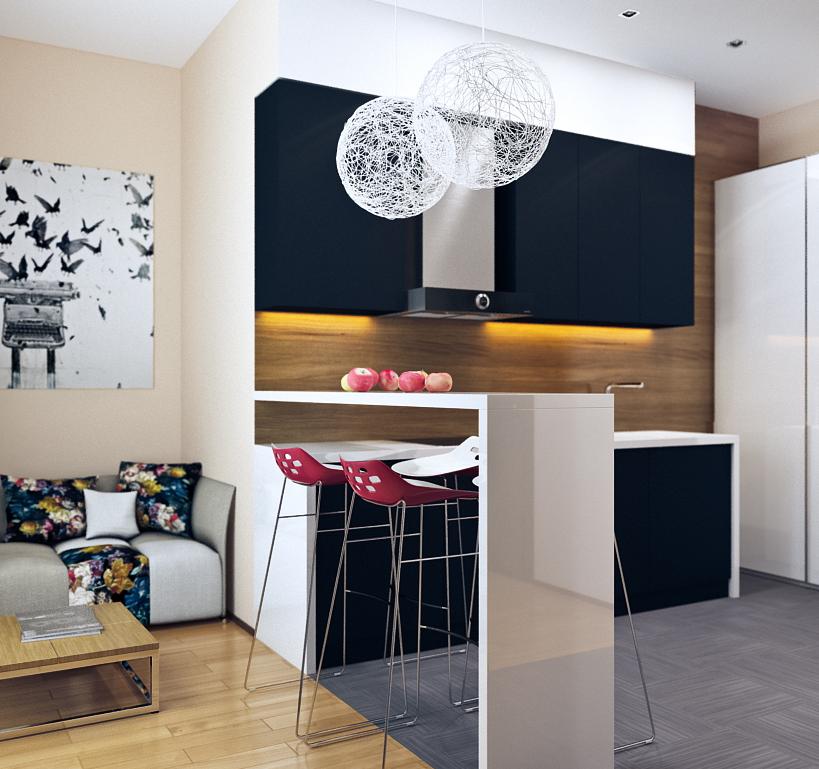 small-modern-loft-kitchen-with-bar