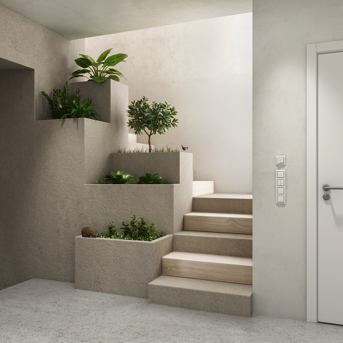 staircase-with-planters