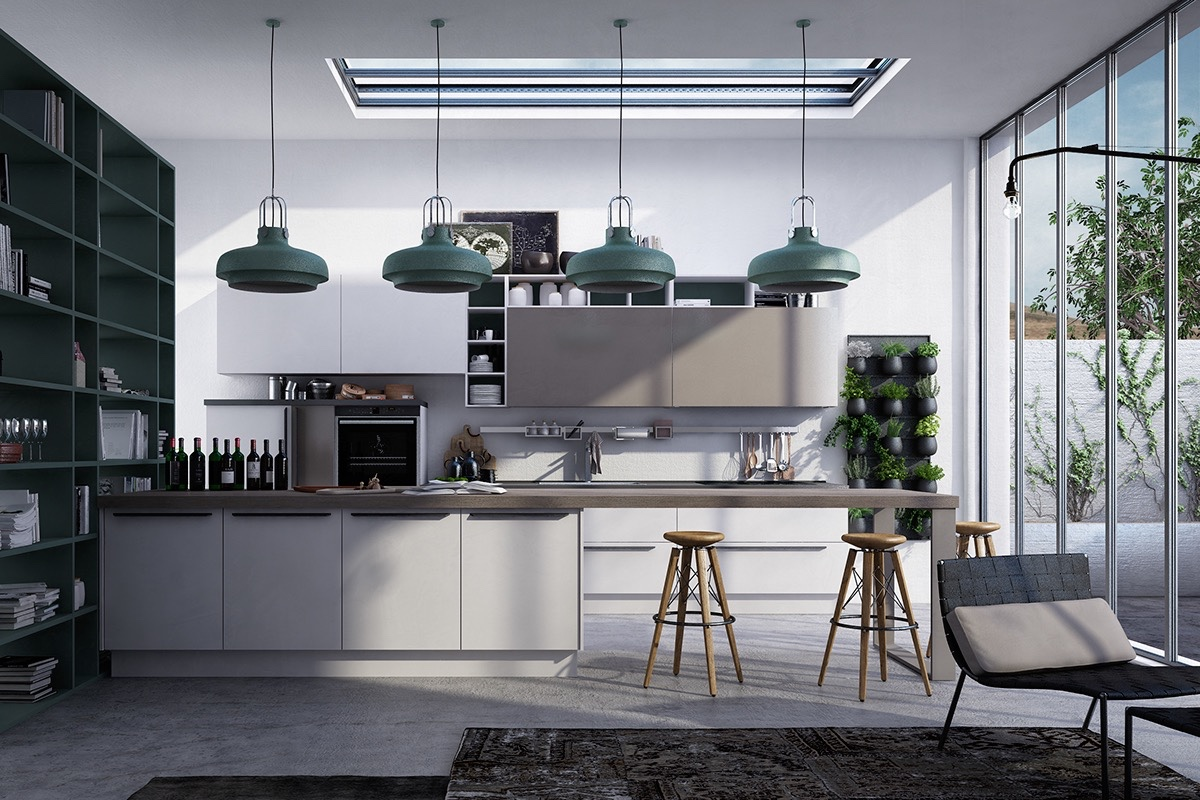 teal-and-grey-kitchen-teal-hanging-lights