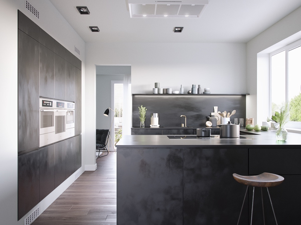 textured-black-kitchen-cabinetry