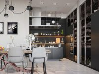 the-little-details-kitchen-hanging-swoosh-lights-compartmented-black-cabinetry