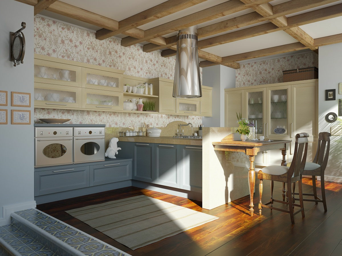 traditional-kitchen-floral-motif