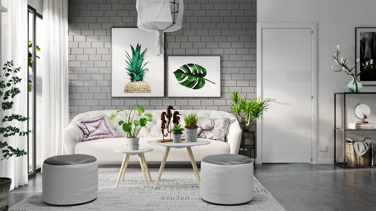 tropical-artwork-gray-living-room-furniture-1