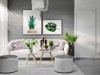 Grey Living Rooms – tropical-artwork-gray-living-room-furniture