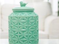 turquoise-ceramic-with-bird-unusual-cookie-jars
