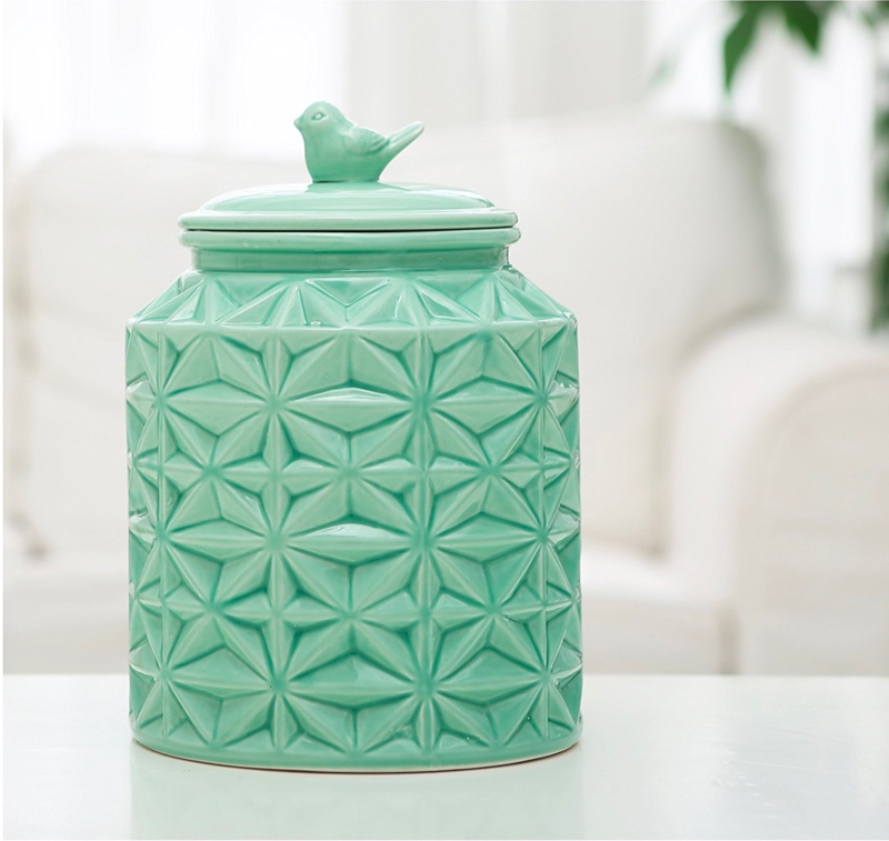 turquoise-ceramic-with-bird-unusual-cookie-jars