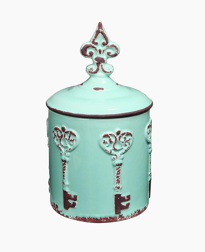 turquoise-with-fleur-de-lis-novelty-cookie-jars