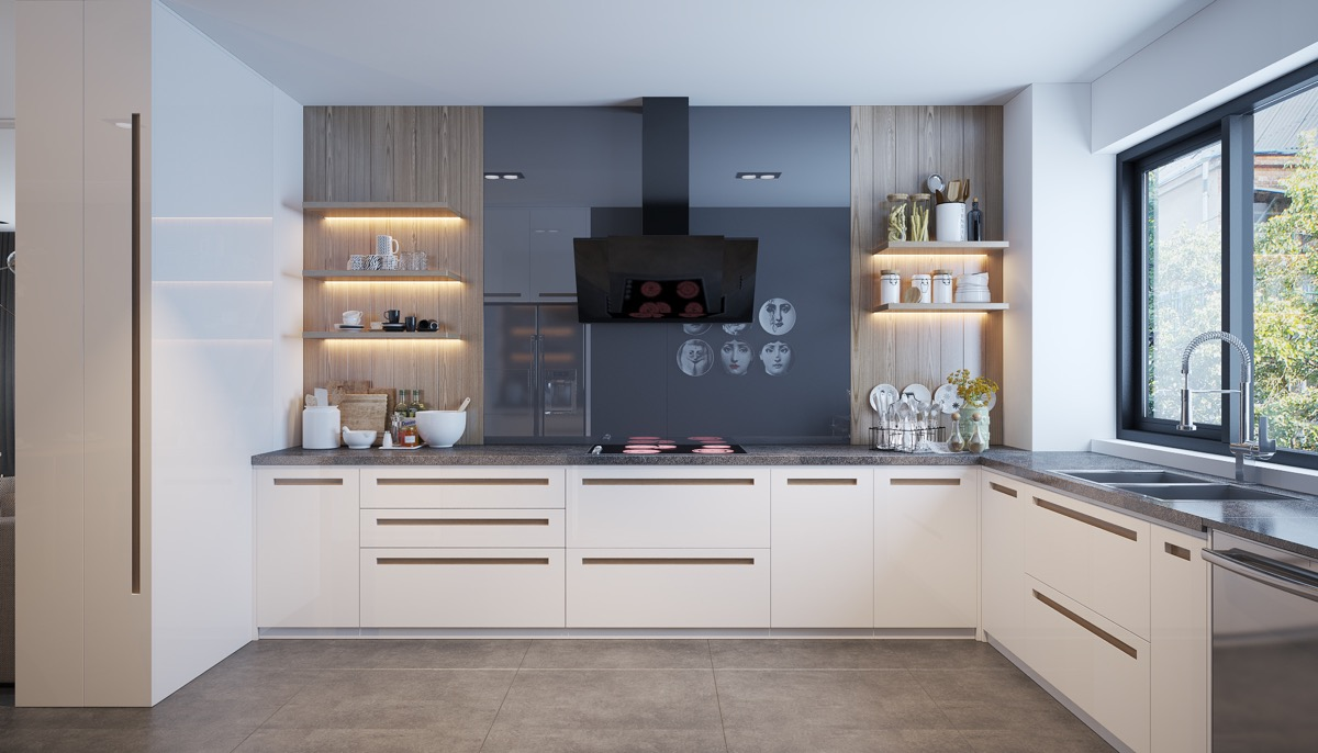 white-and-charcoal-kitchen-LED-lit-open-shelving
