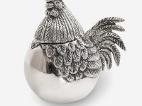 white-and-grey-rooster-cookie-jar
